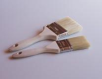 Duas escovas de pintura fotografia de stock