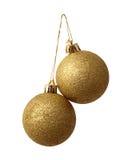 Duas esferas do ano novo do ouro Imagens de Stock Royalty Free