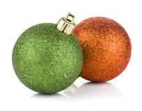 Duas esferas do Natal Fotografia de Stock Royalty Free