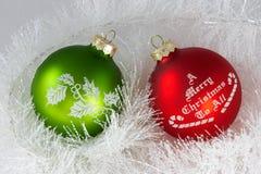 Duas esferas do Natal Foto de Stock