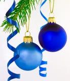 Duas esferas do Natal Foto de Stock Royalty Free