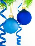 Duas esferas do Natal - isoladas Imagem de Stock