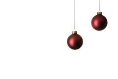 Duas esferas vermelhas do Natal imagem de stock