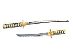 Duas espadas japonesas do katana do samurai imagem de stock