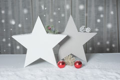 Duas estrelas com abeto e cones que estão na neve Fotografia de Stock
