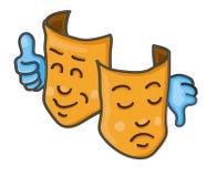 Duas faces com gestos de mão Foto de Stock