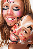 Duas faces pintadas Imagens de Stock