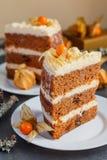 Duas fatias de bolo de cenoura caseiro com porcas, peras e queijo creme Imagens de Stock Royalty Free
