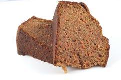 Duas fatias de bolo de cenoura. Imagem de Stock