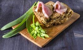 Duas fatias de carne fumado no pão com ervas frescas, foco seletivo Imagem de Stock Royalty Free