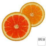 Duas fatias de laranjas suculentas frescas no fundo branco Vermelho e Imagem de Stock Royalty Free