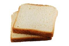 Duas fatias de pão isoladas Foto de Stock Royalty Free