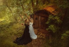 Duas feiticeiras, escuro e brilhante, encontradas na cabana velha dos gnomos em meninas de uma floresta feericamente dois tocam-s foto de stock