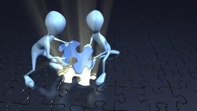 Duas figuras da vara que coloc o enigma reunem Imagem de Stock