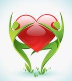 Duas figuras verdes abraçam um vermelho ouvem-se Imagem de Stock