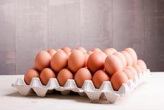 Duas fileiras de ovos marrons em uma bandeja em um lado de madeira claro da tabela vi Fotos de Stock