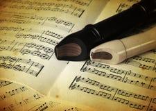 Duas flautas na madeira Fotos de Stock