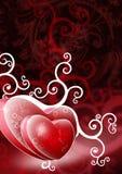 Duas formas do coração no fundo vermelho Imagens de Stock Royalty Free