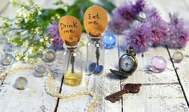 Duas garrafas bonitos com etiquetas bebem-me e comem-nas me, flores velhas dos pulsos de disparo, as chaves e as selvagens Fotografia de Stock Royalty Free
