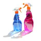 Duas garrafas de limpeza do pulverizador no branco  foto de stock royalty free