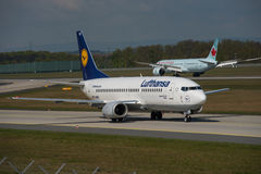 Duas gerações de aviões de Boeing Fotografia de Stock