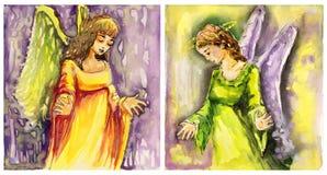 Duas imagens dos anjos ilustração stock