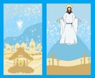 Duas imagens religiosas - Jesus Christ abençoa e nascimento de Jesus Fotografia de Stock