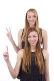 Duas irmãs dos gemini das meninas imagens de stock royalty free