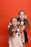 Duas irmãs em vestidos estilizados bonitos em um fundo vermelho dentro Foto de Stock