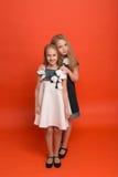 Duas irmãs em vestidos estilizados bonitos em um fundo vermelho dentro Fotos de Stock