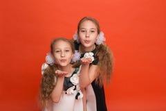 Duas irmãs em vestidos estilizados bonitos em um fundo vermelho dentro Foto de Stock Royalty Free