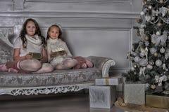 Duas irmãs felizes no Natal Fotografia de Stock