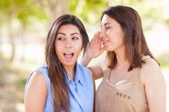 Duas irmãs gêmeas étnicas bonitas que sussurram segredos fora Foto de Stock Royalty Free