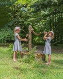Duas irmãs gêmeas perto da coluna de água antiga no parque Bomba de água da rua do vintage foto de stock royalty free