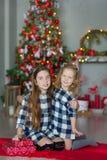 Duas irmãs impressionantes bonitos das meninas que comemoram o Natal do ano novo perto da árvore do xmas completamente dos brinqu imagem de stock