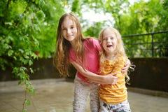 Duas irmãs mais nova adoráveis que abraçam e que afagam fora no dia de verão bonito Fotos de Stock Royalty Free