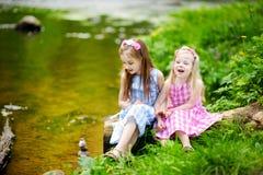 Duas irmãs mais nova adoráveis que jogam por um rio no parque ensolarado Fotos de Stock Royalty Free