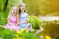 Duas irmãs mais nova adoráveis que jogam por um rio no parque ensolarado Fotografia de Stock Royalty Free