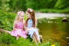 Duas irmãs mais nova adoráveis que jogam por um rio no parque ensolarado em um dia de verão bonito Foto de Stock Royalty Free