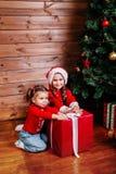 Duas irmãs mais nova bonitos com a caixa de presente atual vermelha grande perto da árvore em casa imagem de stock