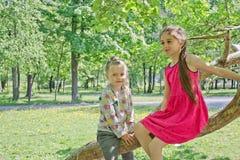 Duas irmãs mais nova bonitos têm o divertimento que andam no parque da cidade imagem de stock