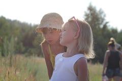 Duas irmãs mais nova que andam em um prado do verão no dia ensolarado Foto de Stock