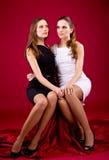 Duas irmãs no vestido preto e branco Fotos de Stock