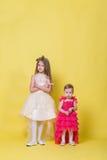 Duas irmãs nos vestidos em um fundo amarelo olham em sentidos diferentes e ofenderam Imagem de Stock