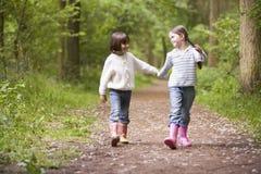 Duas irmãs que andam no sorriso das mãos da terra arrendada do trajeto Imagem de Stock