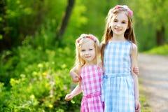Duas irmãs mais nova adoráveis que riem e que abraçam-se Fotografia de Stock