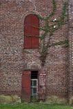 Duas janelas dadas forma diferentes na parede de tijolo do vintage com muitas texturas diferentes Imagem de Stock Royalty Free