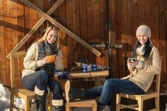 Duas jovens mulheres apreciam a casa de campo do inverno do chá Imagens de Stock Royalty Free