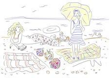 Duas jovens mulheres estão descansando na praia pela ilustração do mar Fotos de Stock