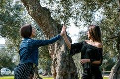 Duas jovens mulheres no parque que dá a elevação cinco imagens de stock